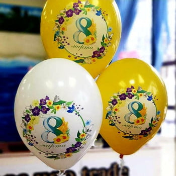 Воздушные шары на 8 марта (Белые желтые)