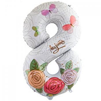 Шар цифра 8 МАРТА Розы