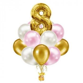 Букет из розовых и золотых шаров с цифрой