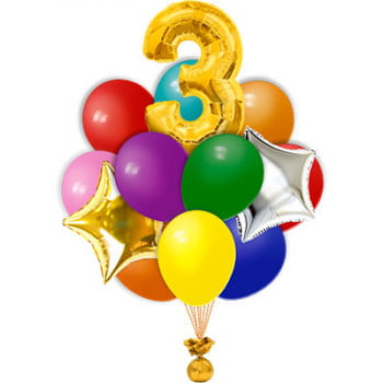 Букет из 17 разноцветных шаров с цифрой