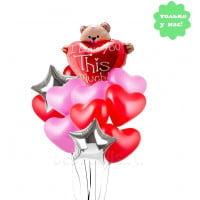Букет из шариков Мишка с сердцем и звездами
