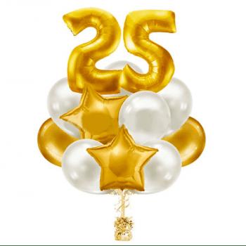 Букет из 15 шаров с цифрой и звездами