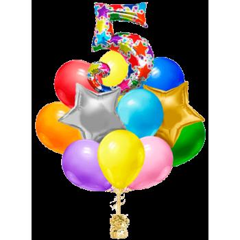 Букет из 27 шаров с цифрой