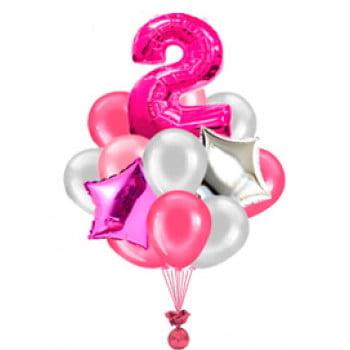 Букет из 17 шаров с цифрой для девочки