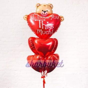 Букет шаров Мишка с фольгированными сердцами