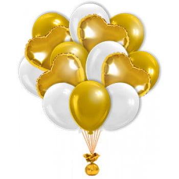 Букет с золотыми фольгированными сердцами 20+5