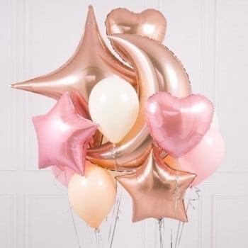 Набор шариков Розовая Луна и Звезда