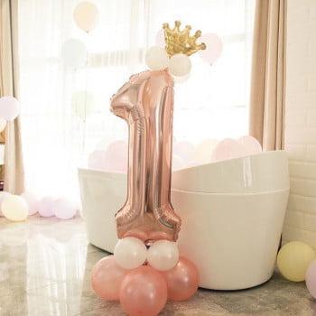 Цифра на подставке Розовое золото с короной