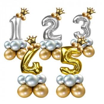 Цифра на подставке Золото или Серебро с короной