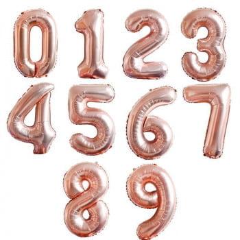 Цифры фольгироваанные Розовое золото 1 метр