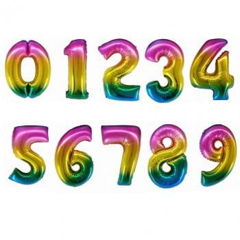 Цифры фольгированные Радужные