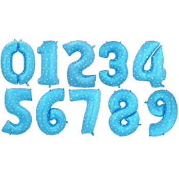 Цифры голубые с звездочками