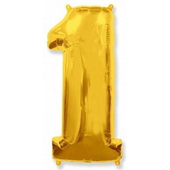 """Шар """"Цифра 1"""" золото."""