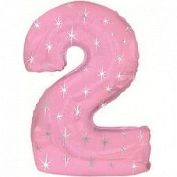 """Шар """"Цифра 2"""" Розовый 107 см"""