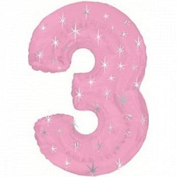 """Шар """"Цифра 3"""" Розовый 107 см"""