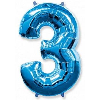 """Шар """"Цифра 3"""" синий."""