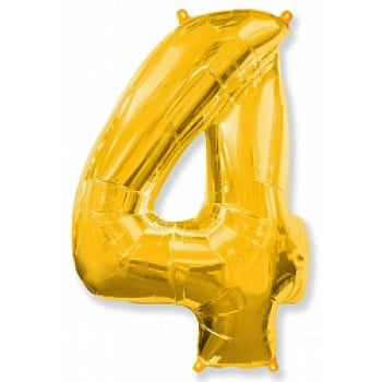 """Шар """"Цифра 4"""" золото."""