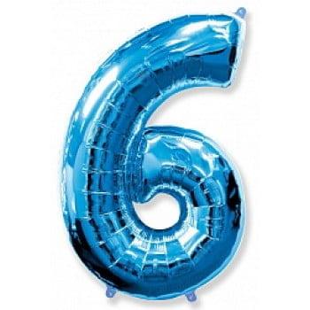 """Шар """"Цифра 6"""" синий."""