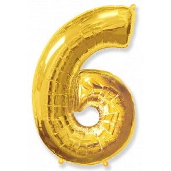 """Шар """"Цифра 6"""" золото."""