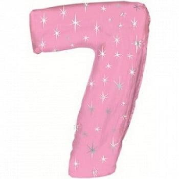 """Шар """"Цифра 7"""" Розовый 107 см"""