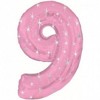 """Шар """"Цифра 9"""" Розовый 107 см"""