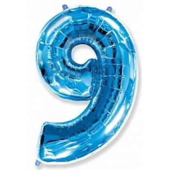 """Шар """"Цифра 9"""" Синий"""