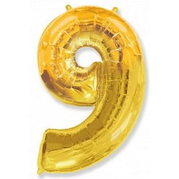 """Шар """"Цифра 9"""" Золото"""