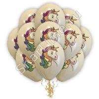 Воздушные шарики Единороги цветные