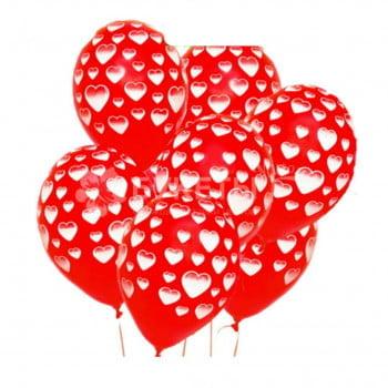 Шарики Красные с сердечками белыми