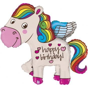 Единорог радужный С днём рождения! (114 см Grabo Италия )