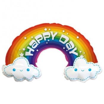 Шар Радуга в облаках Счастливый день! (100 см)