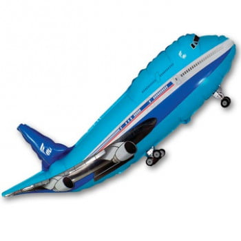 Шар самолёт синий (100см)