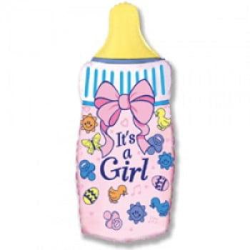 """Шар """"Бутылочка для девочки"""" розовый 81 см"""