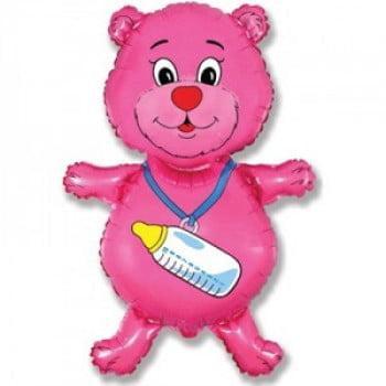 """Шар """"Медвежонок-девочка"""" розовый 81 см"""