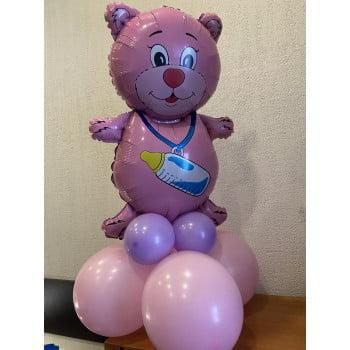 Мишка розовый/голубой на подставке