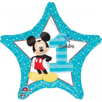 Микки 1 годик фольгированная звезда