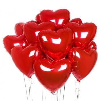 Сердца красные фольгированные