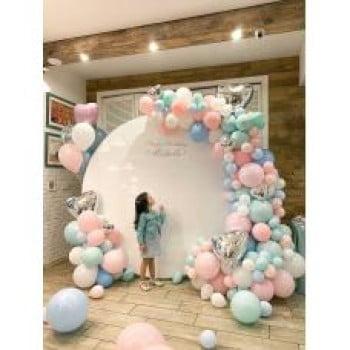 Круглая фотозона из шариков Для девочки на день рождение
