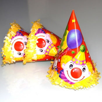 Колпак с бахромой Клоун с шарами 6шт