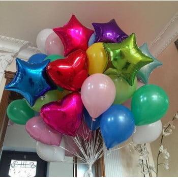 Облако из фольгированных и латексных шаров разноцветных (50\50)