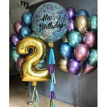 Большой шар с надписью, два фонтана,цифра