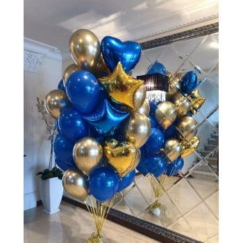 Букет шаров синий, золотой хром