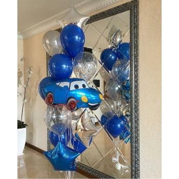Фонтан из шаров с такой синий