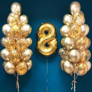 Два фонтана из шаров Хром и конфетти с цифрой