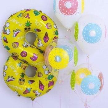 Набор шаров Цифра, шарики с пончиками