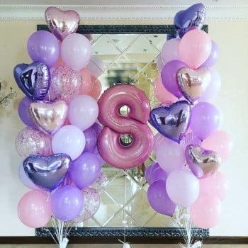Набор шаров для Девочки, два фонтана с цифрой
