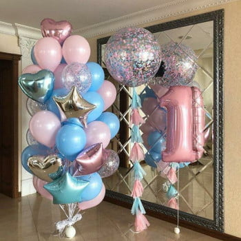 Набор шаров для Девочки, фонтан, большой шар и цифра
