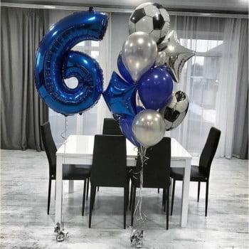 Набор шаров для мальчика футбольный букет и цифра