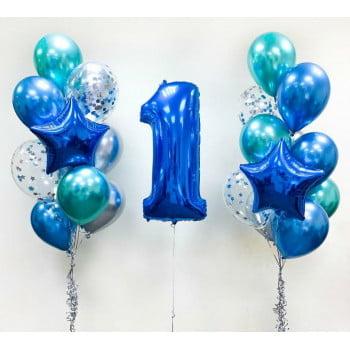Набор шаров Два фонтана, цифра, шары хром и с конфетти