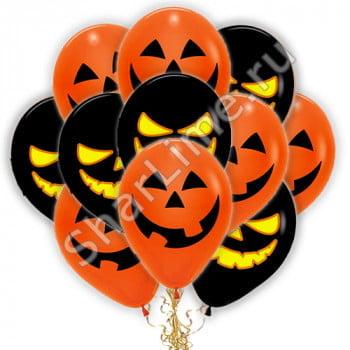 Шарики на хеллоуин тыква черные оранжевые